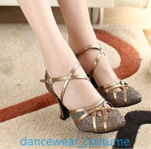 New Ladies Samba Party Ballroom Latin Tango Modern Salsa Dance Shoes Heels US5-9