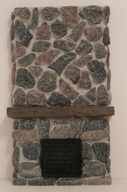Dollhouse Fireplace Resin Stone and Wood Look 1:12 Scale
