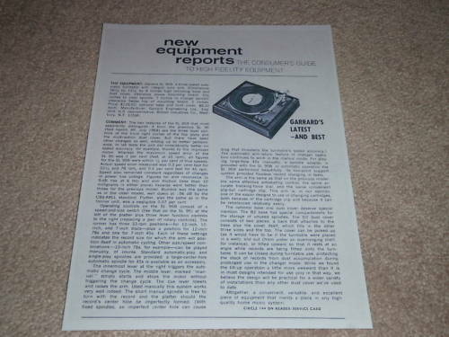 1971 1 page,Rare Info! Garrard SL 95b Turntable Review