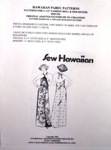 NG Creations Sew Pattern Hawaiian Pareu fits Barbie Stacie Kelly Skipper Tutti