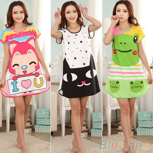 WOMENS COTTON CUTE CARTOON SLEEPWEAR PAJAMAS SHORT SLEEVE SLEEPSHIRT NIGHTDRESS