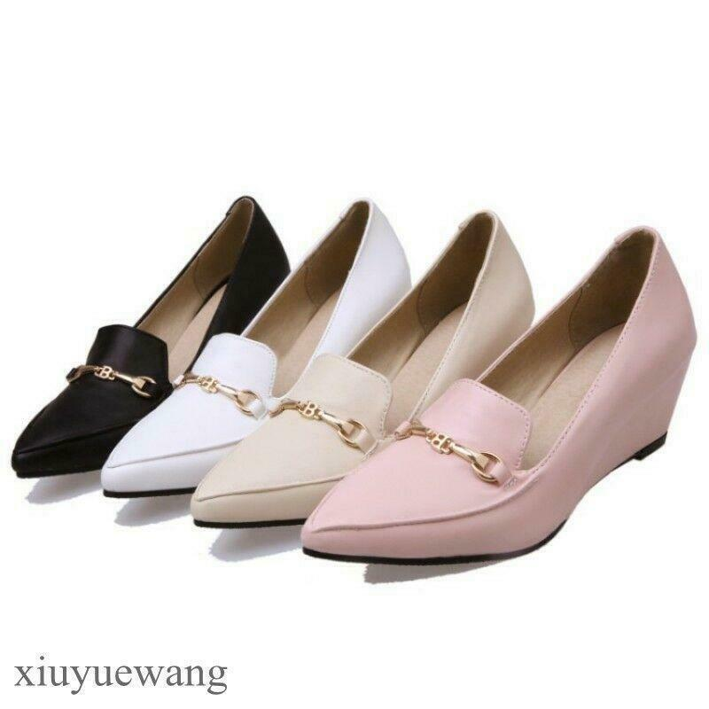 Womens Pointy toe High Wedge Heels Leather Pumps Slip ons Loafers Casual Shoes