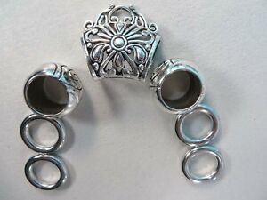 US Seller-7 pcs Scarf ring large hole beads and slide tube bail set