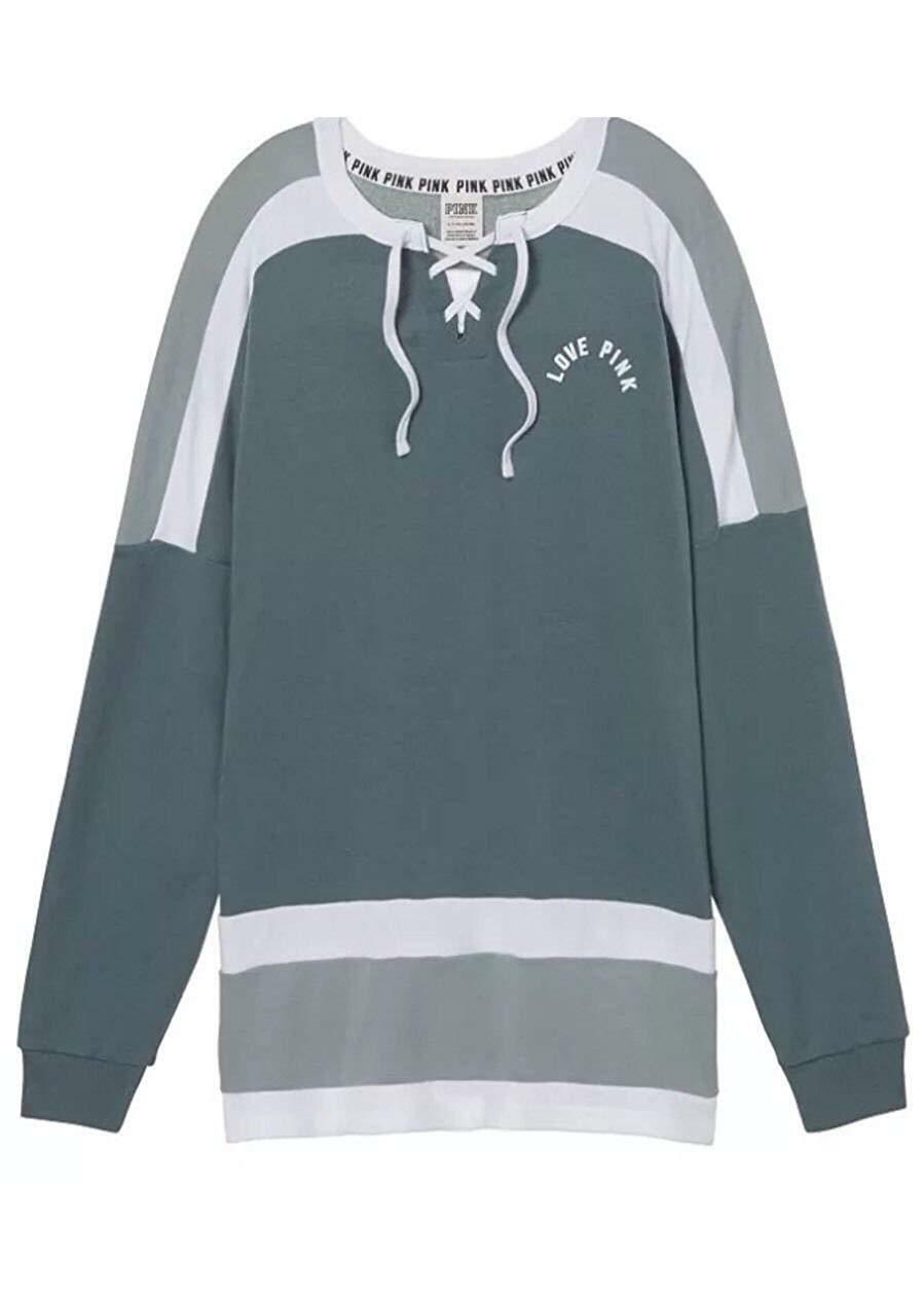 Victoria's Secret Pink NEW Oversize Lace Up Varsity Varsity Varsity Crew color Green Medium NWT 47a4b0