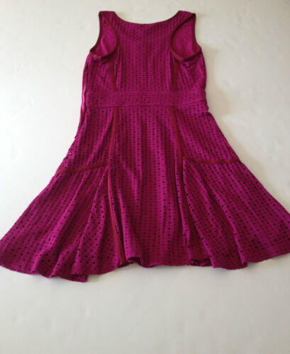 NWT MARC BY MARC JACOBS Emi Eyelet Jersey Dress in Hot Fuchsia L Pink $328