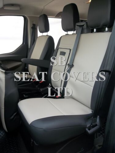 BIEGE//BLACK LEATHERETTE TO FIT A FORD TRANSIT CUSTOM VAN SEAT COVERS 2014 LWB