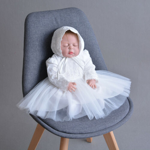 Newborn Baby Christening Gown Infant Lace Baptism Dress with hat//bonnet 2 pcs