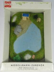 BNIB-N-BUSCH-8052-CAMP-SITE-amp-LAKE-DIORAMA-COMPLETE-WITH-TENTS-MODEL-RAILWAY