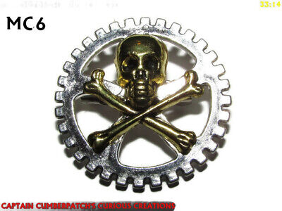 steampunk pin badge brooch silver skull crossbones pirate on gearwheel cog #MC9