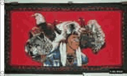 150cm x 90cm Flag Banner Indian Eagle Wolf 5ft x 3ft