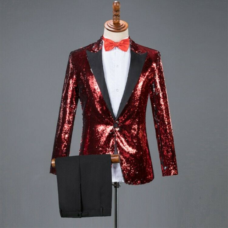 Mens Sequins Bling Bling Suits Coats Pants Lapel Collar One Button Stage Shows