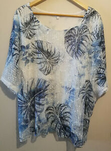 Apricot-summer-loose-white-blue-leaf-top-layers-short-sleeve-UK-Size-Large