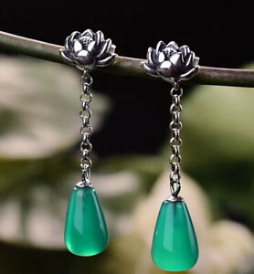 Gorgeous 925 Sterling Silver Green Agate Lotus Flower Drop Earrings Statement