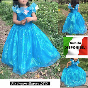 Caricamento dell immagine in corso Cenerentola-Vestito-Carnevale-Dress-up- Princess-Cinderella-Girl- 93ac5524718a
