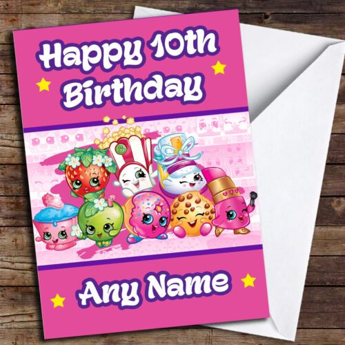 Pink Any Age Shopkins Personalised Birthday Card