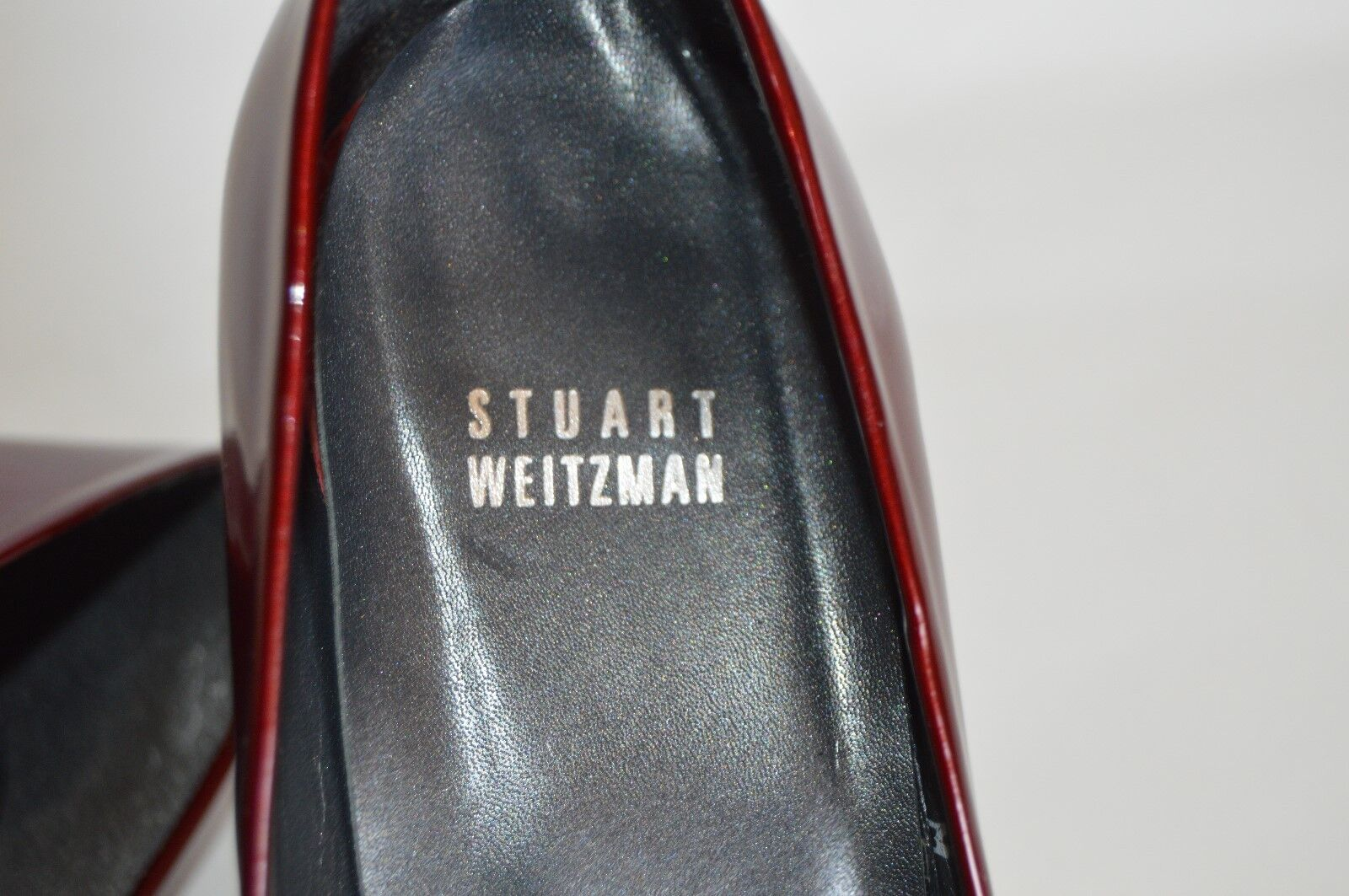 STUART WEITZMAN blood rouge patent patent patent leather stiletto peep toe Taille 9 m 6ce097