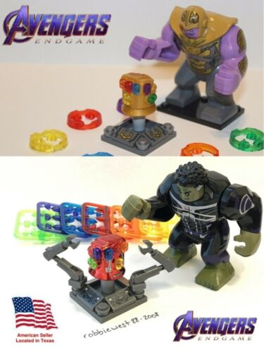 Avengers Gold /& Red Infinity Gauntlets WITH Thanos /& Hulk Minifigures for LEGO!