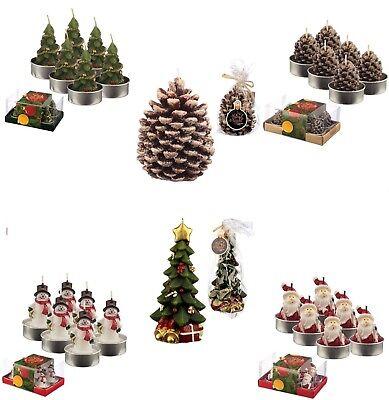 Christmas Tea Light Candle Sets Decoration Xmas Candles Santa Trees Pines