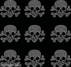 9x-Small-Filled-Skull-Iron-On-Rhinestone-Transfer-Crystal-tshirt-applique-patch