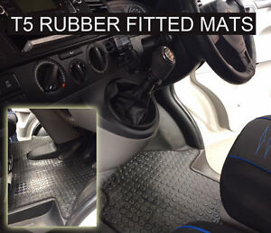 VW-Transporter-T5-Van-Rubber-Floor-Mat-Tailored-2003-on-Black-Button-Rubber