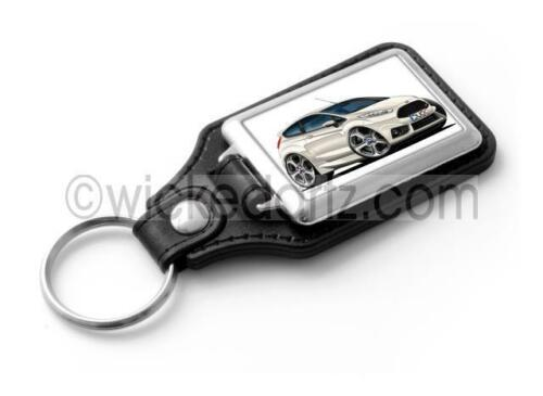 WickedKarz Cartoon Car Ford Fiesta MK7 ST in White Stylish Key Ring