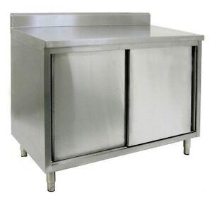 14 X 60 Stainless Steel Storage Dish Cabinet Sliding Doors W