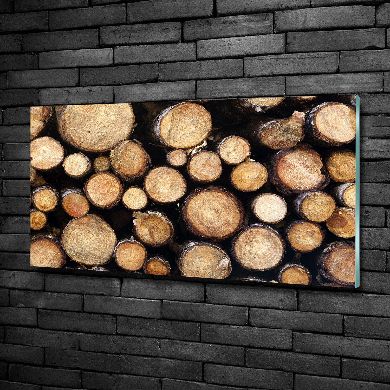 Wandbild aus Plexiglas® Druck auf Acryl 100x50 Blaumen & Pflanzen Holzscheite