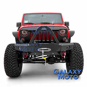 HD Stinger Rock Crawler Front Bumper+Fog light Mount fit 07-18 Jeep JK Wrangler
