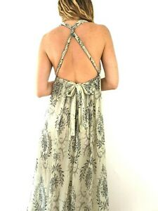 Mango-Maxi-Dress-Grecian-Empire-Waist-Cream-Floral-Occasion-Chiffon-Size-Small