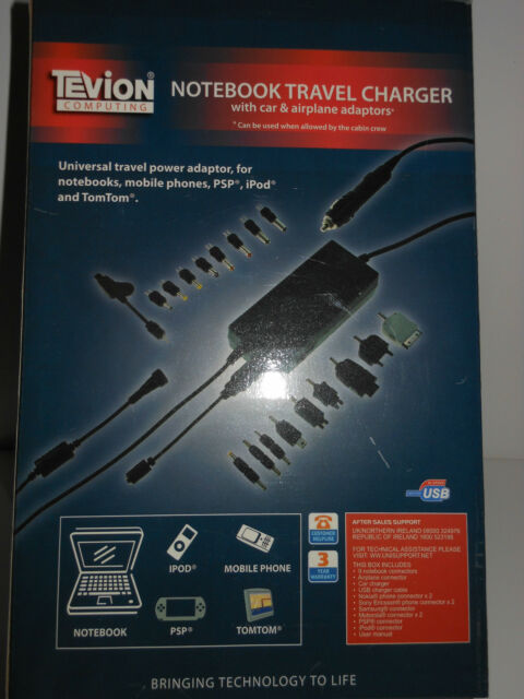 Tevion Notebook Travel Charger with car & airplanes adaptors - BNIB