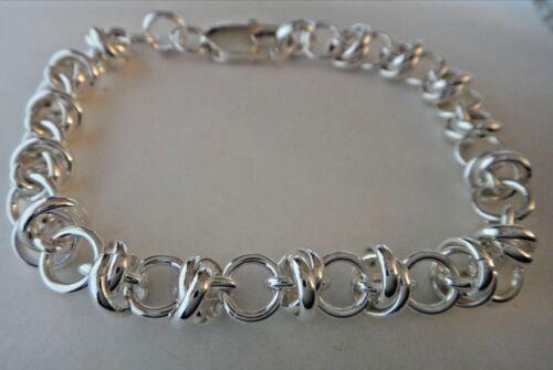 """7/"""" Heavy 17g Unusual Double Fancy Knot Rolo 7 mm Sterling Silver Charm Bracelet"""