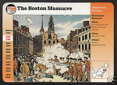 THE BOSTON MASSACRE Revolution Paul Revere 1995 GROLIER STORY OF AMERICA CARD
