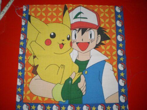 30cm x 31cm Vintage POKEMON ASH /& PIKACHU Fabric Panel
