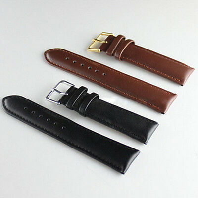 Fashion Unisex Genuine Leather Black Brown Watch Strap Band Wristwatch Bands Hot