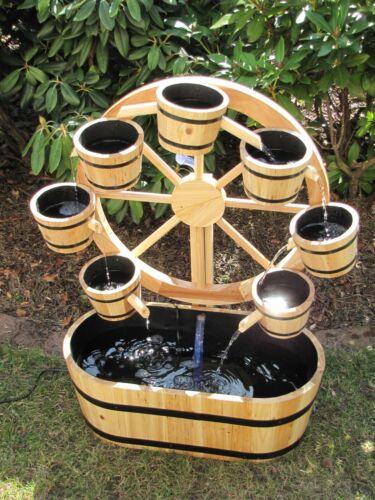 Holz Gartenbrunnen Modell Prater Zirkulations 7-Eimer Garten Brunnen  9,5W Pumpe