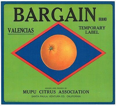 ORIGINAL ORANGE CRATE LABEL SANTA PAULA VENTURA DASH 1930S CALIFORNIA VINTAGE