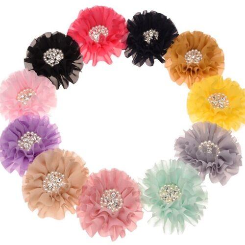 Chiffon Flower With Pearl /& Diamond Cluster Centre Hair Clip Girls Hair