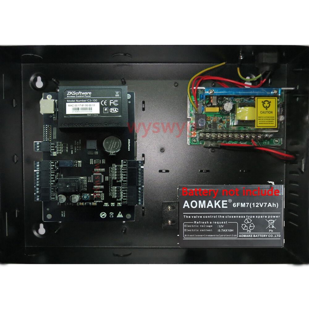 Puerta Simple TCP IP Id IC de tarjeta de control de acceso Ac100v-240v respaldo de batería Zk C-100