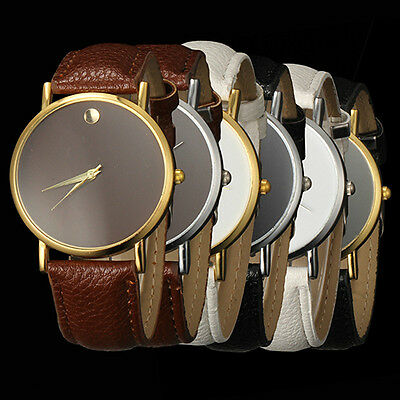 Trendy Sumptuous Women's Men's Minimalism Leather Band Quartz Wrist Watch