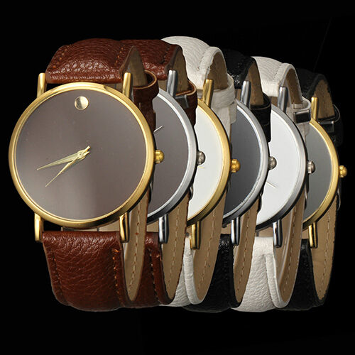 Luxury Elegant Womens Mens Deluxe Minimalism Leather Quartz Wrist Watch
