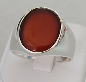 Handmade-Authentic-Natural-Red-Agate-925-Sterling-Silver-Men-039-s-Ring-D54-2