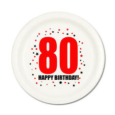 80th BIRTHDAY DESSERT PLATES 8/pk Small Lunch Plate Birthday Party Supplies T90