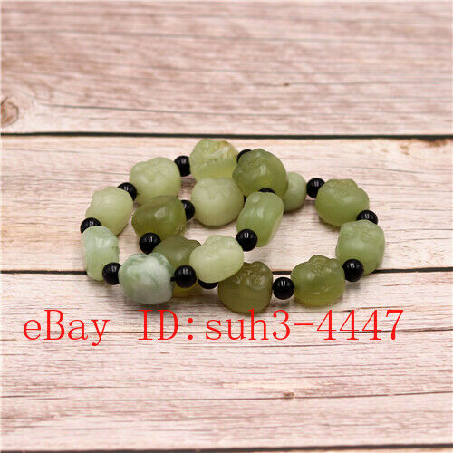 1pc Natural Hetian Jade Buddha Head Bead Bracelet Men Women Elastic Bangle
