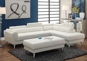 Excellent Details About L Sectional Sofa Corner Couch Flip Up Headrest Xl Ottoman White Bonded Leather Machost Co Dining Chair Design Ideas Machostcouk