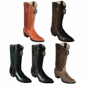 Los Altos Boots Mens Ostrish Round Toe Western Cowboy Boot Black Cherry 13 D
