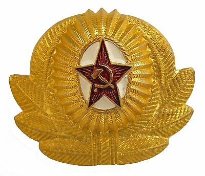 Soviet Army OFFICERS PARADE CAP BADGE Russian Red Army Hat Wreath Cockade New