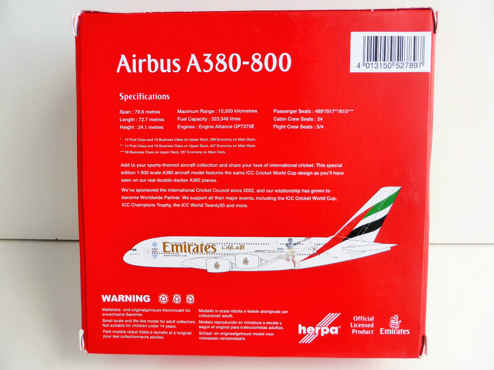 Emirates Cricket World Cup Airbus A380-800 1/500 Herpa 527897 a 380 A380