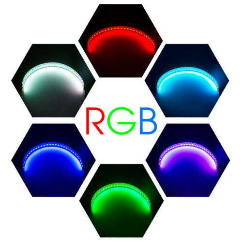 2x RGB LED Demon Eye Halo Ring Headlight Projector Lens Bluetooth Remote Control
