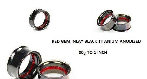 "1/"" PAIR INLAID RED GEM BLACK TITANIUM ANODIZED SADDLE TUNNEL PLUG 00g"
