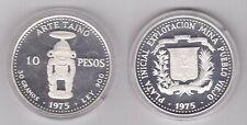 DOMINICAN REPUBLICA - RARE SILVER PROOF 10 PESO COIN 1975 YEAR KM#38 TAINO ART